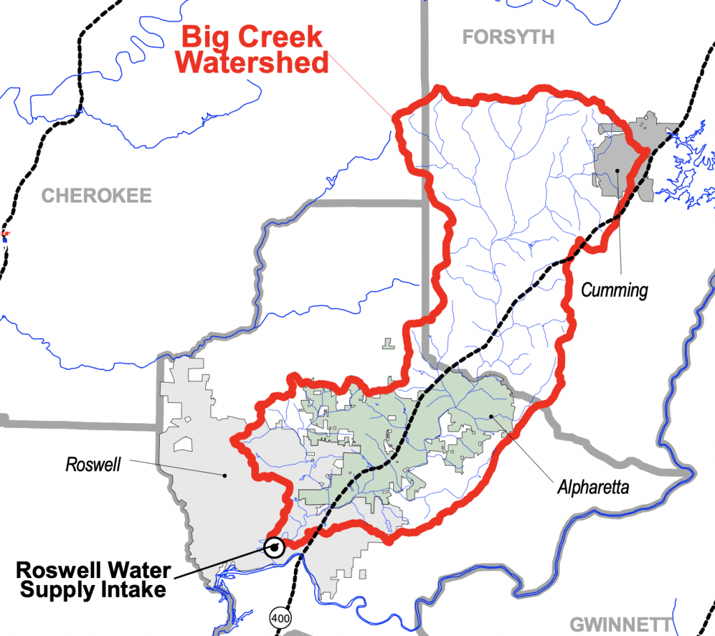 The Big Creek Watershed Boundaries in Metro Atlanta, Georgia